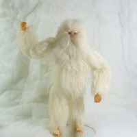Yeti, the Abominable Snowman of the North, aka White Bigfoot, Needle Felted Soft Sculpture
