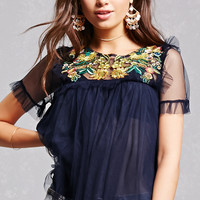 Embroidered Sheer Mesh Top