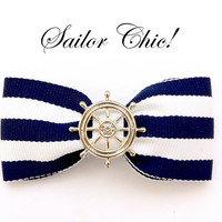 Navy Blue & White stripe hair bow on clip with Ships Wheel Rockabilly Pin Up girl