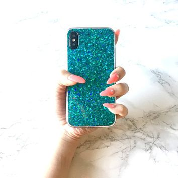 Glitter Holograph Sparkle OCEANSIDE iPhone X 8 7 6s 6 Plus Phone Case Holo Reflective Iridescent Mermaid Hologram Bling Sparkly Cover Gift
