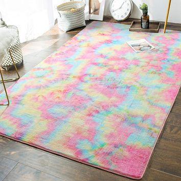 Soft Girls Room Rugs - 5 x 8 Feet Fluffy Rainbow Area Rug for Kids Baby Room Bedroom Nursery Home Decor Large Floor Carpet by AND BEYOND INC, Multi 5 ft x 8 ft