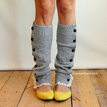 The Miss Molly - Light Heather Grey Slouchy Button Down LEG WARMERS w/ Ivory Knit Lace - Legwarmers boot socks (item no. 7-13)