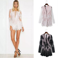 Lace Floral Printed Women Slim Fit Sexy Erotic  _ 9972