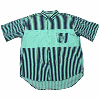 Vintage 90s Teal/Navy Striped Button Up Shirt Mens Size XL