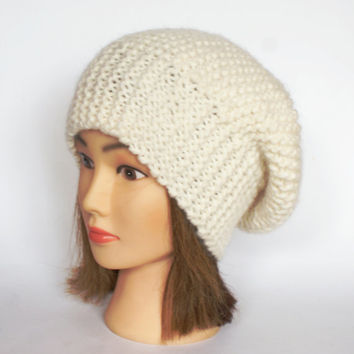 Beret style slouch hat off white slouchy beanie hat women knitted irish handknit cream knit hats