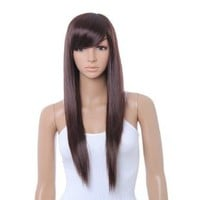 HealthTop Cute Brown Long Straight Wig Kanekalon DARK BROWN Full Wigs