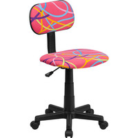 Flash Furniture Multi-Colored Swirl Printed Pink Computer Chair - BT-OLY-GG