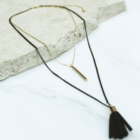 Black and Gold Layered Necklace with Tassel