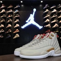 PEAPON3A VAWA Womens Air Jordan 12 Retro Chinese New Year GS Ltather 881428-142 Basketball Shoes White Red