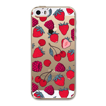 Strawberry Fruit Silicone Soft Transparent Back Cover Phone Case For Apple iPhone 6 6s
