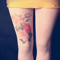 Colorful Roses - Milky Tattoo Tights - Free Shipping - Made to order :)