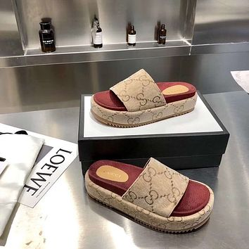 Gucci/Summer  Women Casual Shoes Boots fashionable casual leather Women Heels Sandal Shoes