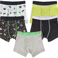 5-Pack Space Invader Digital 100% Cotton Tagless Boxer Briefs