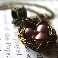 Wire Wrapped Nest Pendant Necklace with Lavender Pearls