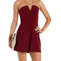 Garnet Notched Strapless Romper by Charlotte Russe
