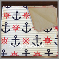 Personalized Baby Blanket, Anchor Baby Blanket, Nautical Baby Blanket, Large Baby Blanket
