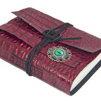 Burgundy Alligator Embossed Leather Journal with Eye Cameo Bookmark - Ready to Ship -