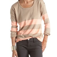Button Shoulder Striped Sweater: Charlotte Russe