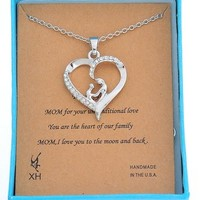 MJartoria Mom And Child Hand In Hand Open Heart Pendant Necklace Rhinestone Alloy With Silver Color