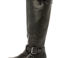 Madden Girl Legacie Black Belted Knee-High Motorcycle Boots