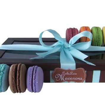 Leilalove Authentic 15 French Macarons up to eight Flavor Assortments of Fruits, Floral and Chocolate Flavors-%50 Organic- Floral gift box