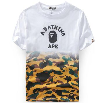 Bape 2018 camouflage stitching head round neck short sleeve TEE F-A-KSFZ