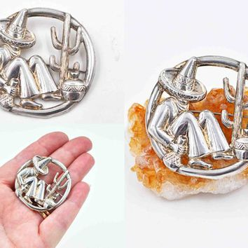 Vintage Silverman Brothers Sterling Silver Circle Brooch, Mexican Figural, Siesta, Sombrero, Cactus, Openwork, Signed SB #c527