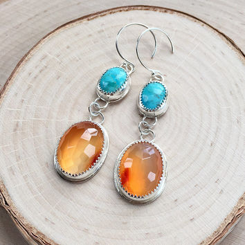 New! Handmade Sterling Silver Bezel Earrings with Sparkling Orange Carnelian Cabochons, and Bright Blue Turquoise Cabochons, Southwest Style