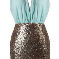 Pastel Icing Dress | Mint Gold Sequin Mini Party Dresses | Rickety Rack