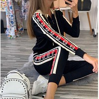 GUCCI Casual Print Hoodie Top Sweater Pants Trousers Set Two-piece High quality Sportswear