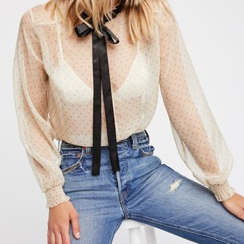 Free People Ditsy Dot Tie Blouse