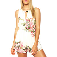 Fashion Women Open Back Chiffon Floral Romper Playsuits Sleeveless Jumpsuit Female Overalls