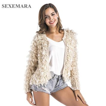 SEXEMARA 2018 Winter Fluffy Sequin Christmas Sweater Long Sleeve Jacket Coat Fashion Party Hand Knitted Cardigan Jumper C28-BZ90