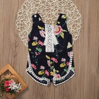 0-5Y Toddler Kids Baby Girl Romper 2017 Summer Sleeveless Floral Tassel Sunsuit Children Jumpsuit Outfits One Pieces Clothes
