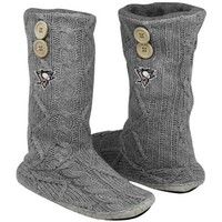 Pittsburgh Penguins Women's Two-Button Cable Knit Boots - Gray