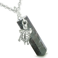Amulet Turtle Lucky Charm Crystal Point Dragon Blood Pendant 22 Inch Necklace
