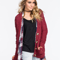 Full Tilt Boucle Cable Knit Womens Cardigan Burgundy  In Sizes