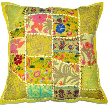 24X24 XL Yellow Floor pillow Patchwork Decorative Throw Pillow, Vintage Embroidered pillow cover Indian Ethnic Outdoor Pillow, Sofa Pillow