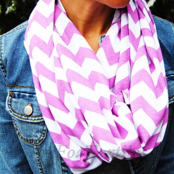 ORCHID INFINITY SCARF, Purple chevron scarf, circle infinity scarf, pink zig zag scarf, light purple scarf, loop scarf, fall style