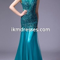 2016 New Arrival Scoop Neck Formal Evening Gowns Beaded Sequin with Open Low Back Tulle Pleated Prom Dresses