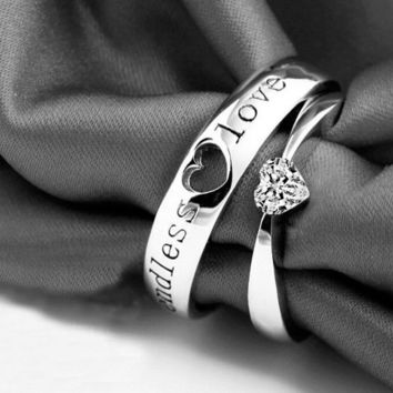 His & Her Matching Wedding, Engagement, Promise Ring Set
