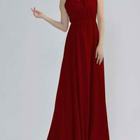 Wine Red Floral Sleeveless Pleated Maxi-Dress