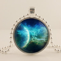 Blue, Planet, Space, Astronomy glass and metal Pendant necklace Jewelry.