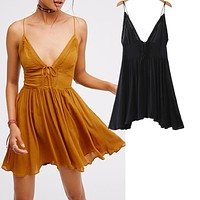 Fashion  Backless Deep V Hollow Lace Stitching Irregular Sleeveless Strap Mini Dress
