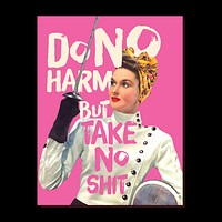 Do No Harm Greeting Card in Pink