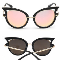 New Metal Rim Sexy Cat Eye Sunglasses Women Brand designer vintage sun glasses female oculos de grau femininos