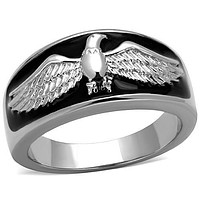 Men's Eagle Stainless & Black Wedding Band Ring