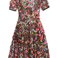 Short Sleeve Embroidered A Line Dress | Moda Operandi