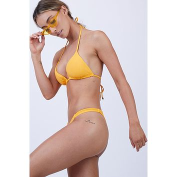 Carmen Ribbed Low Rise Bikini Bottom - Sunflower Yellow