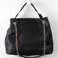 Distressed Sliding Chain Handle Hobo Bag